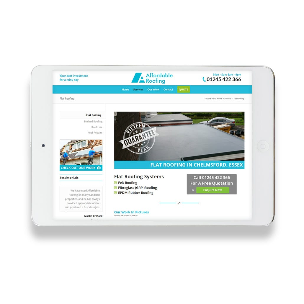 Affordable Roofing Responsive Web Design Chelmsford IPad Portrait