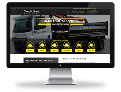 Carr grab hire website design home page