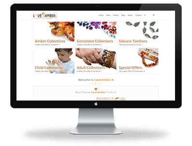 Love Amber X website design Home Page