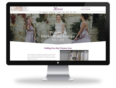 Martels bridal boutique website design home page