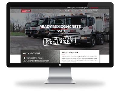 Pro-Mix website design desktop screen