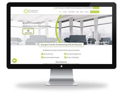 Desktop displaying home page of Ingenious Air responsive website