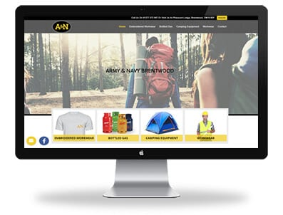 desktop view of Army and Navy responsive website