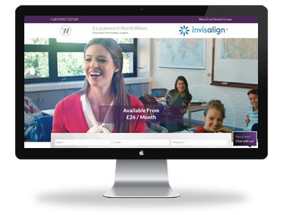 desktop view of west end dental invisalign website