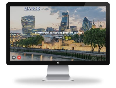 desktop view of manor commercial consultants website home page